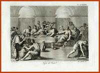 Stampa antica sacra Nozze di Cana incisione autentica acquaforte religiosa roma