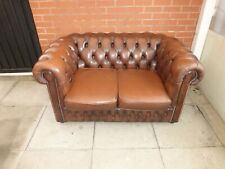 A Brown Leather Chesterfield Two Seater Settee ***DELIVERY AVAILABLE**