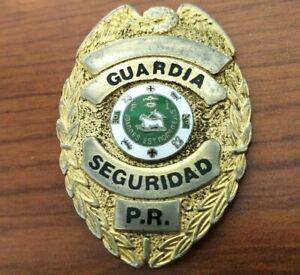PLACA ANTIGUA GUARDIA DE SEGURIDAD PUERTO RICO Genuine old Security Guard Badge