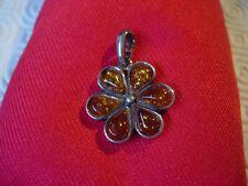 Amber Silver Designer Fleur Pendentif 100% Authentique Ja8