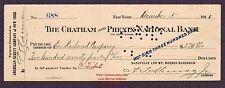LMH Check 1911 ERIE Railway DANSVILLE MT MORRIS DMM Railroad Chatham Phenix Bank