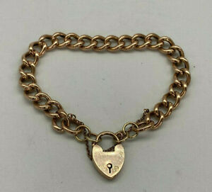 Vintage 9ct Rose Gold Hollow Link Charm Bracelet.  Goldmine Jewellers.
