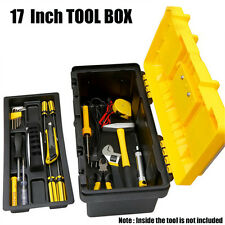 Portable 17'' ABS Tool Box With Handle Tray Compartment Storage Garage Organizer