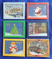 Christmas Post Card Shelf Decoration Snow Globe Old Town Santa Snowman Tree ++