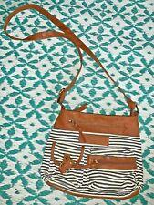American Eagle Crossbody Navy Blue Stripe Handbag Satchel Purse Saddle ❤️tw11j