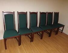 Set of Six Dining Chairs Wood and Green Fabric Quality Traditional Furniture