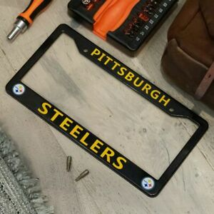 Pittsburgh Steelers Black & Yellow License Plate Frame Cover - EliteAuto3K
