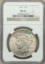 1927-P $1 PEACE SILVER DOLLAR NGC MS64 #3320423-019 BETTER DATE PLEASANT TONING!