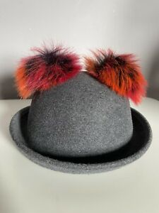 M&S Little Girls Wool Hat With Pom Pom Ears 3-6 Years Grey