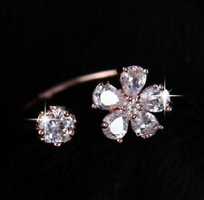 Gold Rose Gold Resizable Multicolour Clear Cubic Zirconia Flower Ring Cocktail