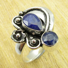 925 Silver Overlay Simulated Sapphire Ring Size 8.25 SHANTIINTERNATIONAL NEW