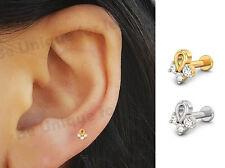 Urva Crystal Tragus Helix Bar Cartilage Ear Earring Screw On Labret Bar