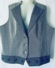 Cold Water Creek Women Vest 2XL (22-24) Gray Herringbone Office Wool Blend