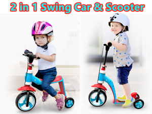 2-1 KIDS CHILD TODDLER SCOOTER PUSH KICK 3 WHEEL SWINGS CAR TOY BALANCE RIDE ON