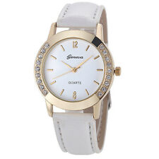 White Leather Gold Face Crystal Elegant Quartz Wrist Watch Stainless Steel. 1575