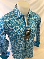 Mens FERRETI By BARABAS Designer Dress Shirt Woven TEAL PAISLEY SLIM FIT 4307