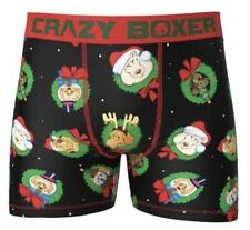 New Crazy Boxer HAPPY HOLIDAYS Mens Boxers BRIEFS MEDIUM CHRISTMAS DOGS/HATS