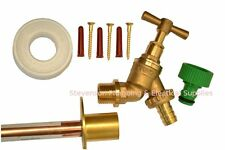 Outside Tap Kit With Through Wall Pipe / Mounting Flange And Garden Hose Fitting