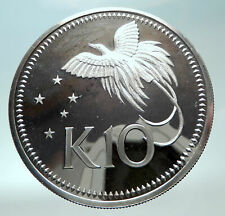 1980 PAPUA NEW GUINEA Large 4.5CM Exotic Bird Proof Silver 10 Kina Coin i82280