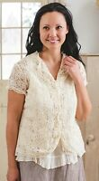Victorian Trading Co April Cornell Sophia Cover Ivory Lace Blouse LG