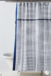 NEW $88 Anthropologie Savon Navy Blue White Stripe Tassel Fabric Shower Curtain