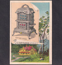 Cottage Grand Antique Stove Alstead NH 1800's Peckham Utica Victorian Trade Card