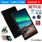 """10.1"""" WIFI Tablet Android 11 HD 12+512GB Tablet Pad 10 Core Netflix Dual Camera"""