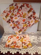 "Flower & Strawberry Print Orange Cotton 16"" Square Dinner Napkins Set of 4"