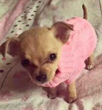 Pink Knitted XXXS Teacup Chihuahua Puppy Size 4 Clothes Pet jumper