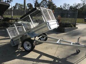 7x4 Galvanised Single Axle Box Trailer   2ft cage   Full Checkerplate   Brisbane