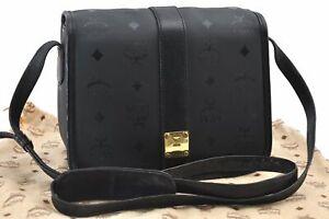 Authentic MCM Visetos PVC Leather Vintage Shoulder Cross Body Bag Black  E1453