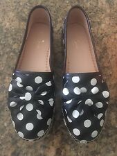 New KATE SPADE Women's Linds Espadrilles Flats Sandal Polka Dot Bow SZ 9 ShoEs