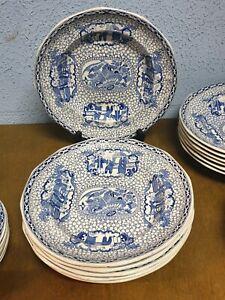 "william adams ""chinese bird"" pattern, 6 x luncheon plates"