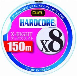 Duel Hardcore X8 150m 20lb/9kg #1.0 Silver 8 Braid PE Line H3296-S 4940764436508