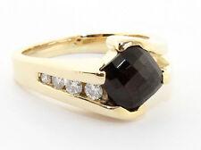 Mens Ring Garnet & Diamond 14k Yellow Gold