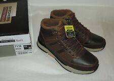 NEW (UK 11) Skechers BROWN LEATHER Hi-Tops - SELLER CAN'T SHIP UNTIL 17 MAY