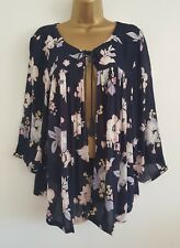NEW Ev-ns Plus Size 16-32 Navy Floral Cape Tassel Tunic Top Blouse Print Holiday