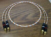 22 AWG RCA Audio Interconnect Cables 1 meter Silver Plated PTFE Wire New