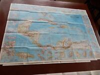 BIG PAPER MAP  WEST INDIES JAMES BOND ERA   GREAT GIFT POTENTIAL  66/95   CM