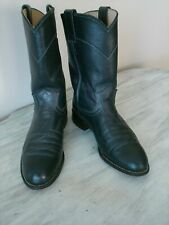 Justin Women's L3057 Navy Blue Leather Pull On Western Roper Cowboy Boot U.S. 6C