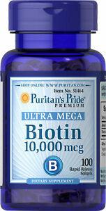 Puritan's Pride Biotin 10,000 mcg 100 Softgels