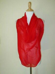MAGGIE WARD Blouse Red Silk Sheer  Draped Front Linen Back Sleeveless- XS- EUC