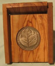 1982 ISRAEL LIVES ON -AM ISRAEL CHAI STATE MEDAL 22g SILVER +OLIVE WOOD BOX +COA