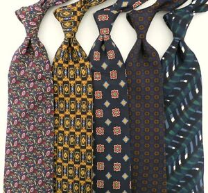 Lot of 5 Classy Blue Silk Italian Designer Ties