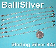 """6 pieces Sterling Silver 925 5"""" Safety CHAIN EXTENDERS with 2 Lobster Clasps Lot"""
