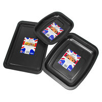3 Piece Non Stick Baking Tray Set Small Oven Roasting Tins Roaster Pans Dishes
