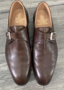 CROCKETT & JONES 9.5E / 10.5D US BROWN SWINDON MONK STRAP Calfskin DRESS SHOES
