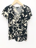 Talbots Womens Faux Wrap Top Black Beige Floral Short Sleeves Ruched Blouse S