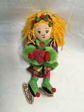 "Yankee Candle Plush doll  Ice Skates Crown Rare 10"" tall holly Xmas purple green"