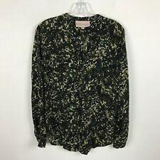 Philosophy Green Camo Print Button Front Blouse Keyhole Neckline Womens Size XS